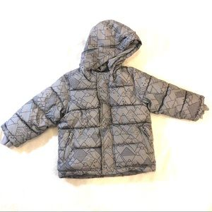 Old Navy Gray Winter Puffer Coat Mountain Print 4T